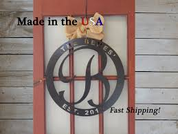 Door Monogram Decoration 20 Last Name Initial Name And Established Date Monogram