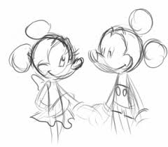 gif love drawing black white disney mickey mouse minnie mouse