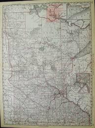 Upper Midwest Map Prints Old U0026 Rare Minnesota Page