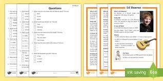 ed sheeran biography pdf ks1 ed sheeran differentiated reading comprehension activity