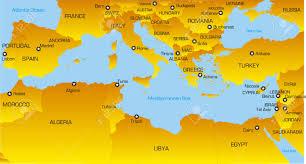vector color map of mediterranean region countries royalty free