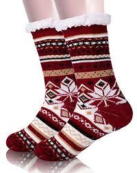 fuzzy christmas socks ebmore womens christmas fuzzy warm winter snowflake fleece slipper