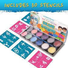 amazon com blue squid face paint 12 color palette 30 stencils