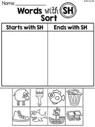 digraphs sh and th worksheets and centers digraphs pinterest