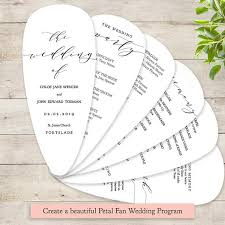 petal fan wedding programs petal fan wedding program printable template diy fan wedding