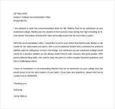 College Letter Of Recommendation From Sle Personal Letter Of Recommendation 21 Free