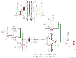 subwoofer lowpass filter circuit using ua741 single op amp ic