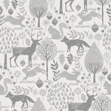 gray woodland animals fabric by the yard carousel designs