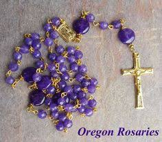 purple rosary purple amethyst rosary sterling silver by heartfeltrosaries
