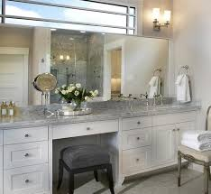 White Big And Large Bathroom Vanity With Makeup Area With The Neat