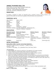 Resume Sample Format For Job Application Philippines by Sample Resume For Filipino Teacher Augustais