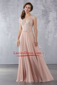 2018 a line scoop chiffon mother of the bride dresses with