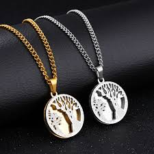 titanium jewelry necklace images The tree of life custom gentleman necklace retro medallion hanging jpg