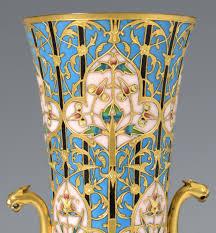 Enamel Vase Lot 215 Pr Barbedienne Foundry Enamel Vases