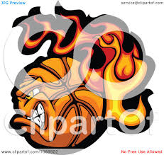 clipart tough flaming basketball character royalty free vector