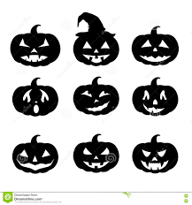 happy halloween sign black and white pumpkin silhouettes set happy halloween stock vector image
