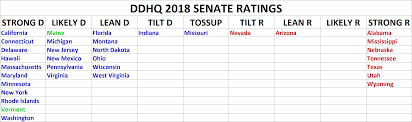2016 Senate Election Map by Ddhq 2018 Senate Races Ratings U2013 July 2017 U2013 Decision Desk Hq
