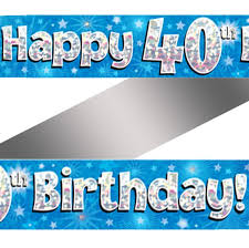 40th birthday delivery holographic happy 40th birthday banner buy helium balloons