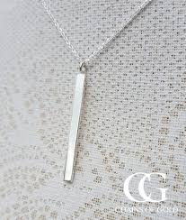 silver drop necklace images Sterling silver solid vertical bar necklace from chains of gold jpg