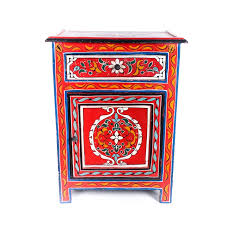 brightly colored hand painted moroccan side table ebth