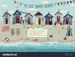 beach huts summer poster advertisement seaside stock vector