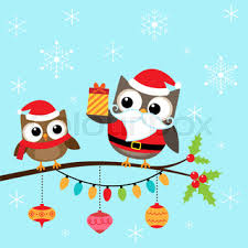 christmas card of owls in hats sitting on a tree branch stock
