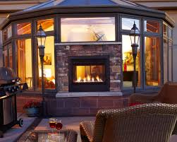 double sided gas fireplace inside outside home design ideas