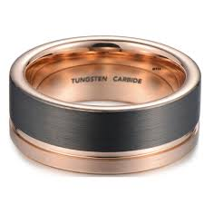 Mens Tungsten Carbide Wedding Rings by Mens Tungsten Wedding Engagement Band With Rose Gold Brushed Tone