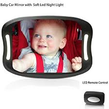 baby car mirror with light baby car mirror with remote control soft led light shatter proof