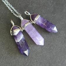 crystal quartz necklace pendant images Amethyst point necklace purple crystal pendant gold chain jpg