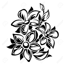 flowers black and white ornament vector illustration royalty