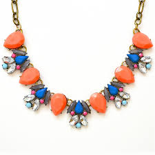 gold orange necklace images Crystal collage necklace orange stone bib with blue accent by jpg
