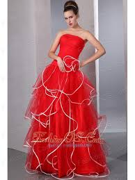 2013 red strapless ruffled prom dress with white hem 158 68