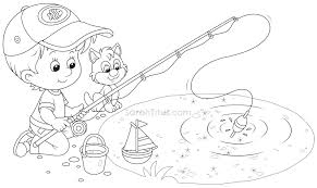 boy fishing coloring pages contegri com
