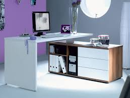 Modern L Desk Shaped Computer Desk With Unique Color Combined