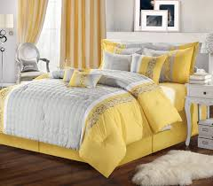 12pc Glendale Yellow Grey Luxury Bedding Set Bed In A Bag