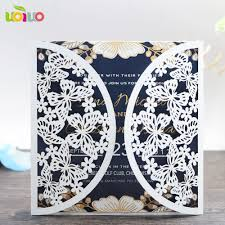 Ceremony Cards F With Envelop 2017 Good Quality Lace Butterfly Invitation Cards