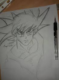 pencil sketch of goku from dragon ball z by asimhussainartwork on
