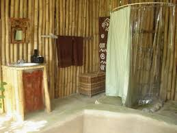 bathroom with bamboo etnic interior design