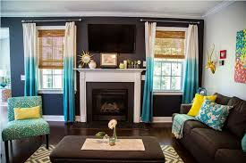 Brown Turquoise Curtains Ombre Turquoise Curtain With Brown Sofa Set Using Stylish Bamboo