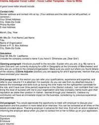 auto insurance claims adjuster cover letter