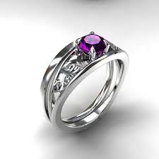 Purple Wedding Rings by Ring Simple Wedding Band Purple Engagement Ring White Gold Unique
