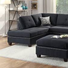 Black Sectional Sofa With Chaise Esofastore Black Polyfiber Accent Stud Trim Sectional Sofa Chaise
