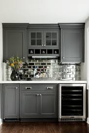 kitchen mirror backsplash beveled antique mirror subway tile in a bat with charcoal grey