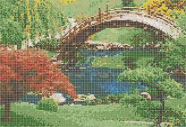 japanese garden mosaic tile art