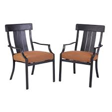 Patio Dining Chairs With Cushions Hton Bay Oak Heights Stationary Patio Dining Chairs With Cashew