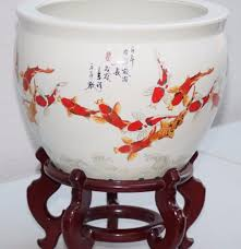 vintage hand painted large chinese koi fish bowl planter