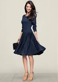 pleated fit and flare dress in navy venus