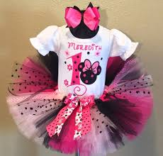 pink little flowers minnie mouse girls birthday tutu
