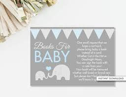 book instead of card baby shower poem elephant book card bring a book card elephant baby shower